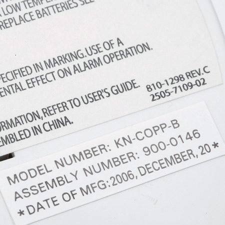 <b>Close-up of CO label</b></br> This label shows a manufacture date.