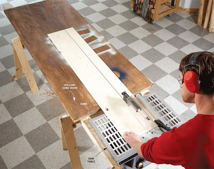 Outfeed table for table saw