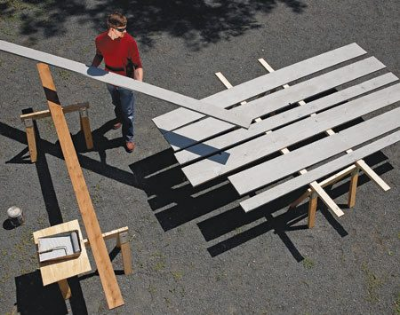 <b>Drying platform</b></br> Lay long 2x4s across a pair of sawhorses to support freshly painted material.