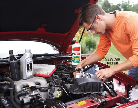 <b>Routine maintenance</b></br> Top off all fluids. Replace worn belts and the air filter if it's dirty.
