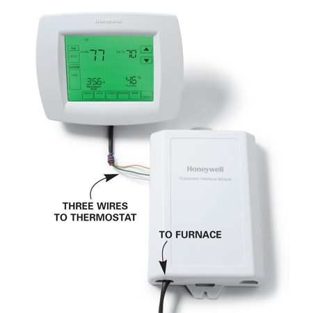 <b>Photo 2: Use existing wiring</b></br> You can eliminate the need for extra wires by installing a digital programmable two-stage thermostat. Connect it to three existing thermostat wires and mount the switching module near the furnace.