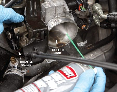 <b>Spray on a cleaner </b></br> Locate the throttle cables and rotate the throttle plate. Spray throttle body cleaner around the inside of the throttle body.