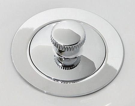 <b>Close-up of a drop stopper</b></br> A drop stopper has a prominent knob that you lift and turn to open the drain.