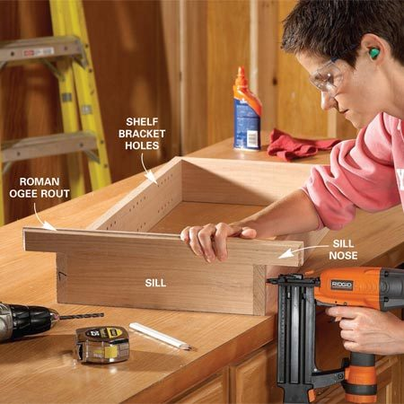 <b>Photo 1: Assemble the box</b></br> Tack the cabinet box together quickly with a brad nailer. Then add screws for rock-solid corners. Glue the sill nose to the sill before assembling the cabinet.