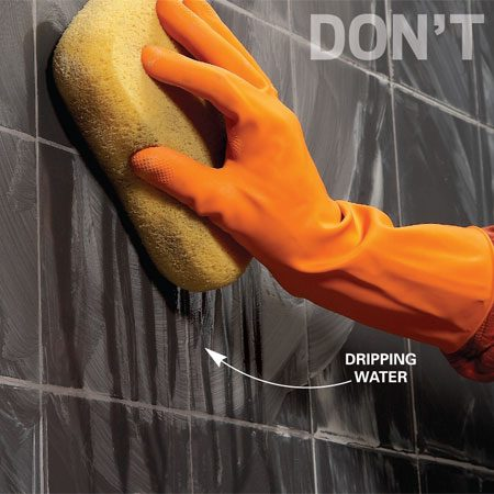 <b>Don't use a wet sponge</b></br> Don't use a dripping wet sponge to clean grout from the tile. If water runs down, the sponge is too wet.