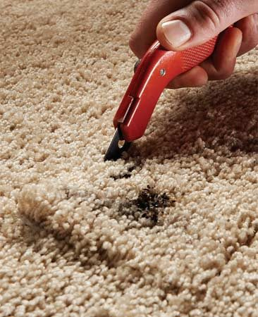 <b>Photo 2: Cut the carpet</b></br> Cut through the carpet backing. Make the cuts as straight as you can and avoid cutting completely through the carpet pad.