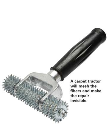 <b>Carpet tractor</b></br> A carpet tractor will mesh the fibers and make the repair invisible.
