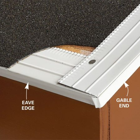 <b>Drip edge corner detail</b></br> Install drip edge along the eaves, add underlayment, then place drip edge along the gable end.