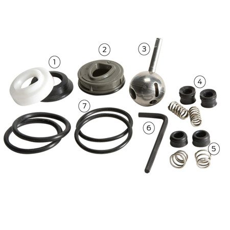 <b>Repair kit contents</b></br> <p>1. Old-style cam and seal</p> <p>2. Combination cam and seal</p> <p>3. Stainless steel ball</p> <p>4. Old-style seats and springs</p> <p>5. New-style seats and springs</p> <p>6.  Allen wrench</p> <p>7. Different thickness O-rings</p>
