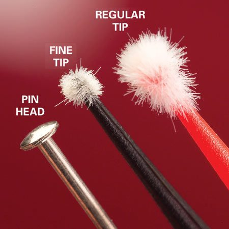 <b>Fuzzy little brushes (micro applicators)</b></br> Buy micro applicators to touch up paint chips.