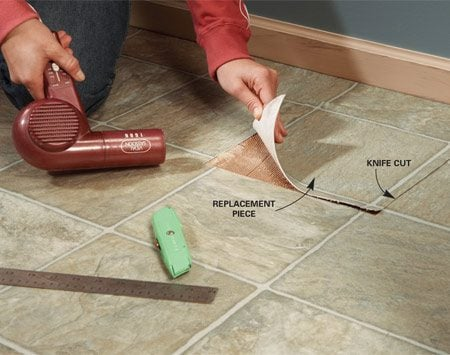 <b>Find a patch</b></br> Cut out a piece of flooring from an inconspicuous place. Make sure the piece you cut out has a pattern that matches the piece you'll replace.