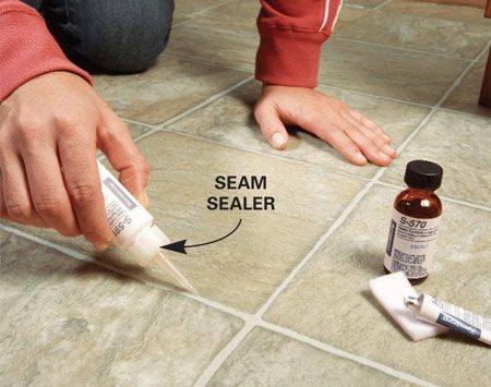 <b>Glue the patch in</b></br> Remove the damaged section of flooring and any backing material that may be stuck to the floor. Glue in the replacement section and seal the seam with vinyl-floor seam sealer.