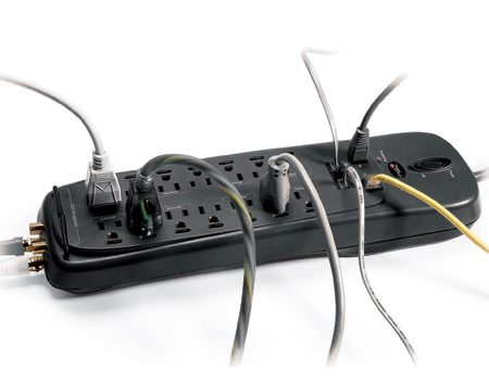 <b>Plug-in surge suppressor</b></br> If you have a DVD player and additional sound equipment, protect them with an additional plug-in surge suppressor.