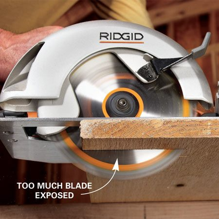 <b>Proper blade depth</b><br/>Setting the blade too deep causes a few problems. First, it's more dangerous than a correctly set blade because more blade is exposed while cutting. In addition, the saw is more likely to bind and kick back if the blade is too deep. Safety issues aside, blades cut more efficiently when properly set.