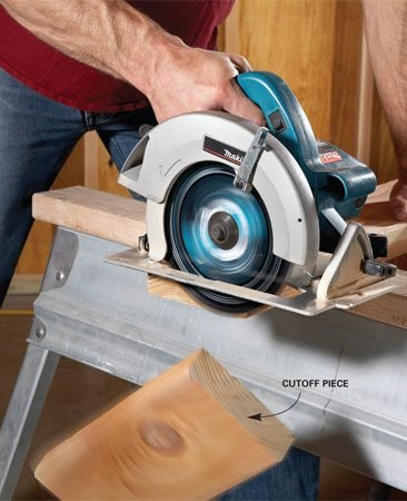 <b>Avoid binding</b></br> Always make sure the end of the board you're cutting is free to fall or move away. For rough cuts in framing lumber, let the cut end fall. Be aware, though, that the falling piece can take a sliver of wood with it as the cut nears completion. To avoid this splintering when you're cutting boards for nicer projects, support the board continuously. But don't clamp, hold or otherwise restrict the cutoff piece.