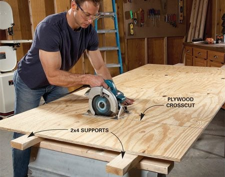 <b>Plywood cutting technique</b><br/>Crosscutting plywood without supporting it across its entire length can cause the saw to bind or the plywood veneer to tear or splinter as the cutoff piece drops. If you're using sawhorses, simply span them with a pair of 2x4s. This will provide the support needed.