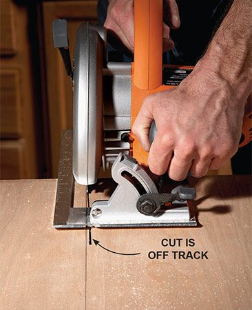 <b>Redo mistakes</b><br/>Cutting along a straight line is a skill that takes practice. Once the saw blade is aligned and cutting along the line, it doesn't take much effort to keep the blade on track. But if you get off to a crooked start, it's difficult to guide the saw back to the line. Don't try to steer the blade back onto the line. Instead, stop and let the blade stop spinning. Then withdraw the saw from the cut, sight along the line and start again. With practice, you'll be cutting straight every time.