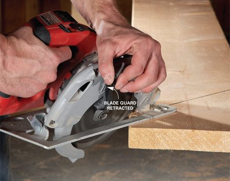 <b>Angle cut technique</b><br/>Some newer saws have blade guards that are designed to retract even when you're sawing at an angle. But even with these newer designs, it's easier to get an angled cut started if you first retract the blade guard. Once you're a few inches into the cut, slowly release the blade guard so it rests on the board. If you try to start an angled cut without retracting the blade guard, the guard can catch on the wood and cause the saw blade to bind or the cut to wander off course.