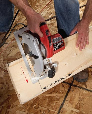 <b>Framing carpenters' trick</b></br> When you're cutting joists or other heavy pieces of lumber, it's often easier to cut them where they lie rather than hoist them onto sawhorses. An easy way to do this is to simply rest the board on your toe and lean it against your shin. Then align the saw with your mark and let gravity help pull the saw through the cut. Do be careful to keep the saw cut at least 12 in. from your toe.