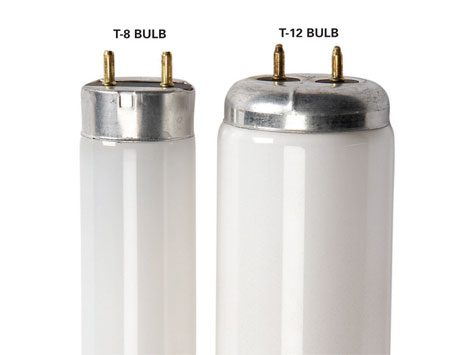<b>Fluorescent bulbs</b></br> T-12 bulbs are being phased out in favor of more efficient T-8 bulbs, but you'll need to replace the old ballast or they'll burn out too quickly.