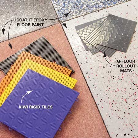 <b>Floor options</b></br> Rigid plastic snap-together tiles, rollout floor mats and epoxy coatings are just a few of the options for garage floors.