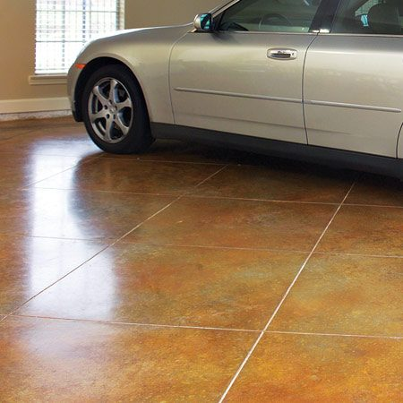 <b>Concrete stain</b></br> Concrete stain gives concrete the mottled look of natural stone.