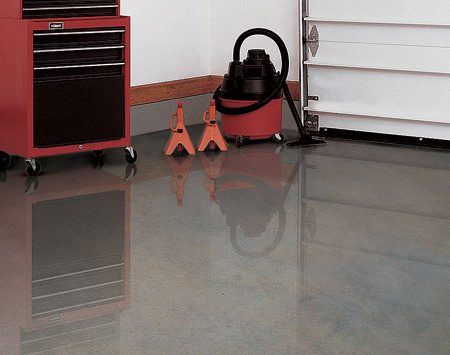 <b>Sealed concrete floor</b></br> Concrete sealers come in clear and tinted versions.