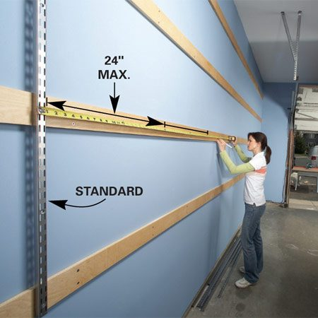 <b>Photo 2: Shelf standards</b></br> Mount the first shelf standard, then use it as a reference to locate the others. Space standards no more than 24 in. apart.