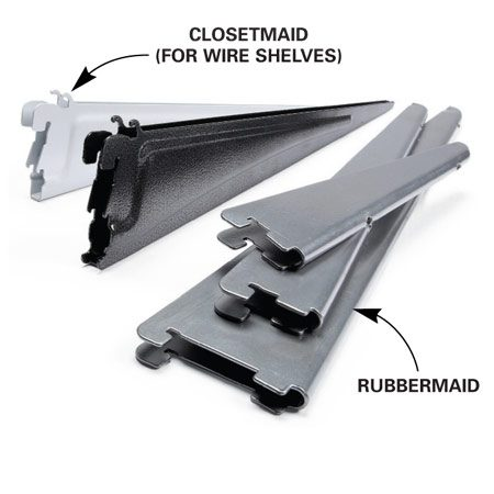 <b>Shelf brackets</b></br> Shelf brackets:<br> Available in 6-, 9-, 12-, 14-, 16-, 18-, 20- and 24-in. sizes for wood or wire shelves.