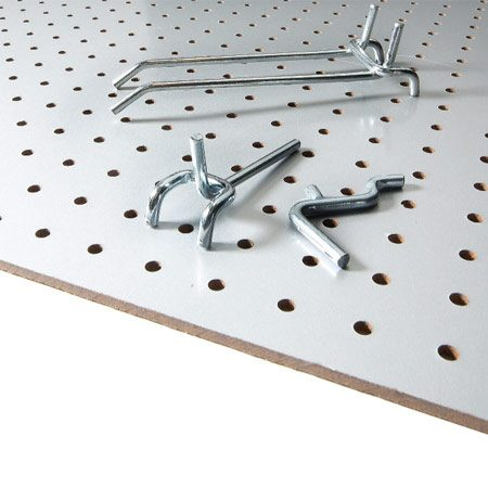 <b>Pegboard and accessories</b></br> Purchase a kit of pegboard hangers, or buy individual hangers for a dollar or two each.