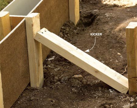 "<b>Diagonal ""kicker"" plus stake</b></br> The angled 2x4 reinforces the side stake that holds the form vertical."