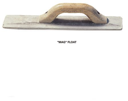 <b>Close-up of mag float</b></br> Use a magnesium or wooden float to flatten smaller areas.