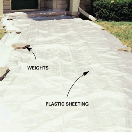<b>Cover with plastic</b></br> Plastic sheeting keeps the moisture in the concrete and aids curing.