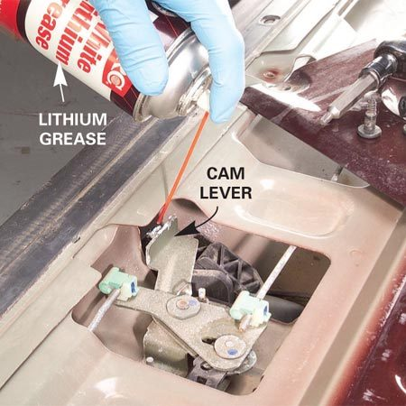 <b>Photo 1: Spray lithium grease</b></br> Aim the spray-can straw so lithium grease soaks the cam/lever area. Then spray all the other pivot points on the mechanism.