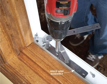 <b>Fasten the new hinge</b></br> Align the new hinge arm with the screw holes and fasten it into place. If the screw holes are stripped out, fill them with toothpicks dipped in wood glue, let the glue dry, then cut the toothpicks flush.