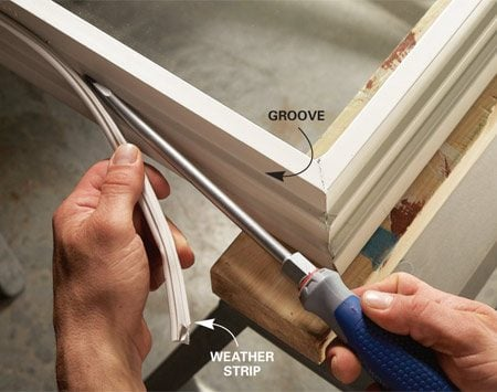 <b>Remove weather strip</b></br> Work the old weather strip out of the groove gently to avoid tearing it and leaving the spline stuck in the groove.