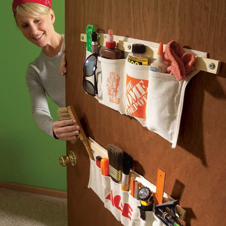 <b>Mount tool apron pockets to a wall or door</b></br> Tool aprons keep tools handy