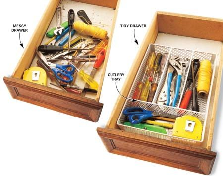 <b>Cutlery organizers come in many sizes.</b></br> Use cutlery organizers to store tools neatly in drawers
