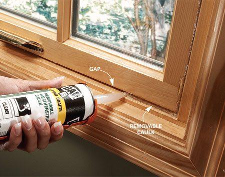 <b>Seal gaps with removable caulk</b></br> Apply caulk over cracks between the sashes and jamb.
