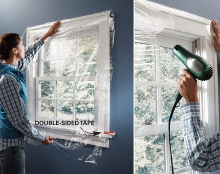 <b>Cover windows with plastic film</b></br> Use double-sided tape and a hair dryer to apply the film.