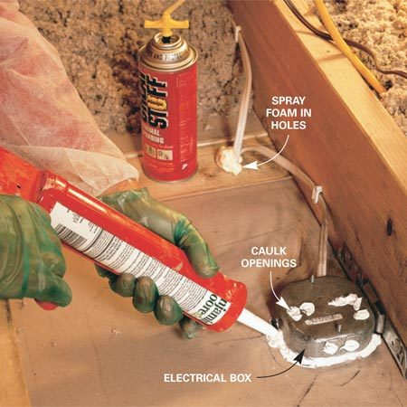 <b>Seal gaps around electrical boxes</b></br> Use caulk to seal smaller gaps around electrical boxes.