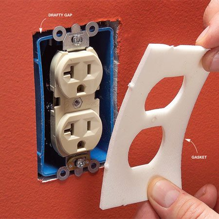 <b>Seal gaps around electrical boxes in exterior walls easily</b></br> Unscrew the cover plate and insert a foam gasket.