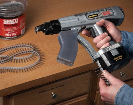 "<b>Automatic screw guns are versatile</b></br> ""What I like about the automatic-feed screw guns is their speed. You don't have to handle individual screws—the screws come in strips that you feed into the gun,"" said Jon Jensen, set builder for <em>The Family Handyman</em> and former contractor. ""You can adjust the depth for sinking screws and for different types of screws. It's really versatile."" The DuraSpin 14.4-volt model by Senco ($150; <a href='http://www.senco.com'>senco.com</a>) and the Autofeed Screwdriver by Makita ($110; <a href='http://www.makita.com'>makita.com</a>) are two automatic-feed screw guns."