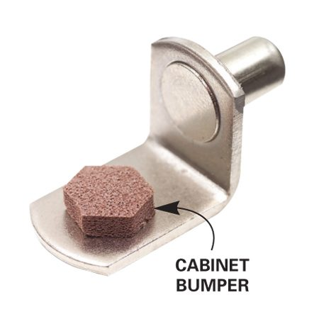 <b>Cabinet bumpers keep shelves steady</b></br> Whether you choose standards or peg-type supports, stick rubber cabinet door bumpers on the supports to eliminate sliding or rocking shelves.