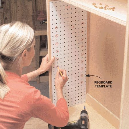 <b>Peg-type supports dress up plain shelves</b></br> For a more elegant look, use peg-type shelf supports. Drilling dozens of holes takes a while, but a scrap of pegboard makes positioning the holes easy. If you don't like the look of all those holes, drill only where you plan to place shelves. That way the holes will be hidden. If you want to move shelves later, you can drill new holes and hide the old ones with wood filler.