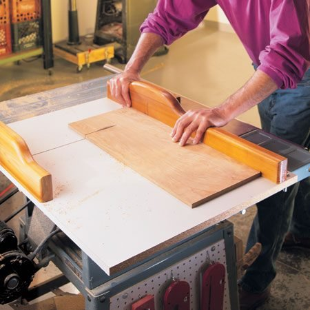 "<b>A sled guarantees clean, exact cuts</b></br> <p>A sled will turn your table saw into a crosscutting and mitering machine. You can build one, plus a miter-cutting attachment, in a couple of hours. Get complete instructions <a href='http://www.familyhandyman.com/search/sled?searchSource=hdrbox'>here</a>.</p>  <p>If you already have a miter saw, you're probably wondering, ""Why bother?"" Because no miter saw can match the reliable accuracy of a sled. A sled gives you consistent, clean and exact cuts  and it crosscuts stock up to 19 in. wide—perfect for shelves and other wide parts.</p>"