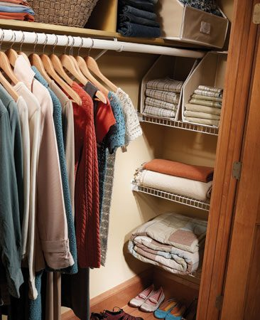 <b>Add shelves in recessed closet corners</b></br> Salvage the hidden space at the recessed ends of your closets by adding a set of shelves. Wire shelves are available in a variety of widths. Measure the width and depth of the space. Then choose the correct shelving and ask the salesperson to cut the shelves to length for you or cut them yourself with a hacksaw. Subtract 3/8 in. from the actual width to determine the shelf length. Buy a pair of end mounting brackets and a pair of plastic clips for each shelf.