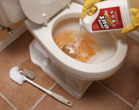<b>Use cleaners that target problem stains</b></br> Stain removers like Super Iron Out ($10 for 5 lbs.) make quick work of rust stains in sinks, tubs and toilets. Pour it onto a sponge or add it to the water in the toilet bowl, then scrub with the sponge or a nylon-bristle brush. You can get rid of most stains in less than five minutes.