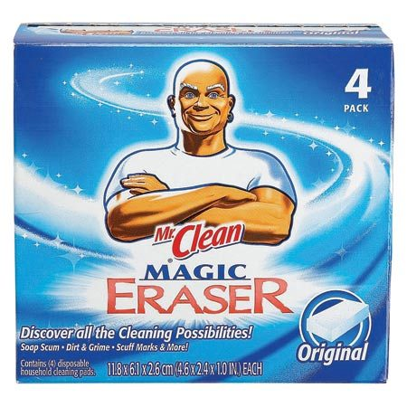 <b>Erase scuff and grease marks</b></br> Our cleaning pros use a Mr. Clean Magic Eraser ($3 for a two-pack) to easily rub scuff and grease marks off the wall.