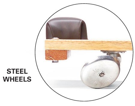 <b>Steel wheels</b></br> Steel wheels are less comfortable to ride on, and will wedge into cracks in the concrete.
